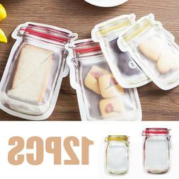 12PCS Reusable Seal Silicone Food Fresh Bag Vacuum Sealer Fr