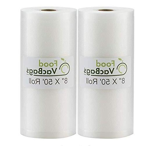"""SALE! Two 8""""X50' of FoodVacBags Commercial Grade Bags Make Own - for Foodsaver, Seal-A-Meal, other"""