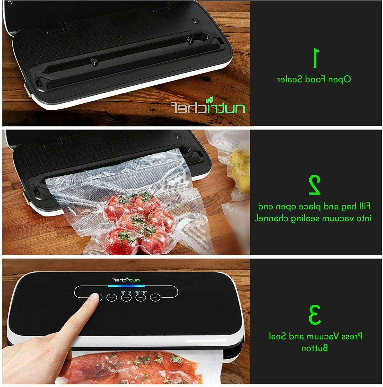 NutriChef Vacuum Automatic Air Sealing System Food Black