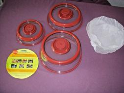 Set of 3 Press Dome Air-Tight Food Vacuum Silicone Sealers